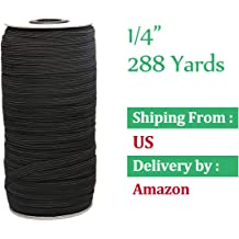 White, 1.5 Wide in Black Or White Elastic Knit Stretch Band Spool Pant /& Wig Making Sewing Springy DIY Band for Crafting Heavy Duty /& Easy to Use Braided Stretch Accessories