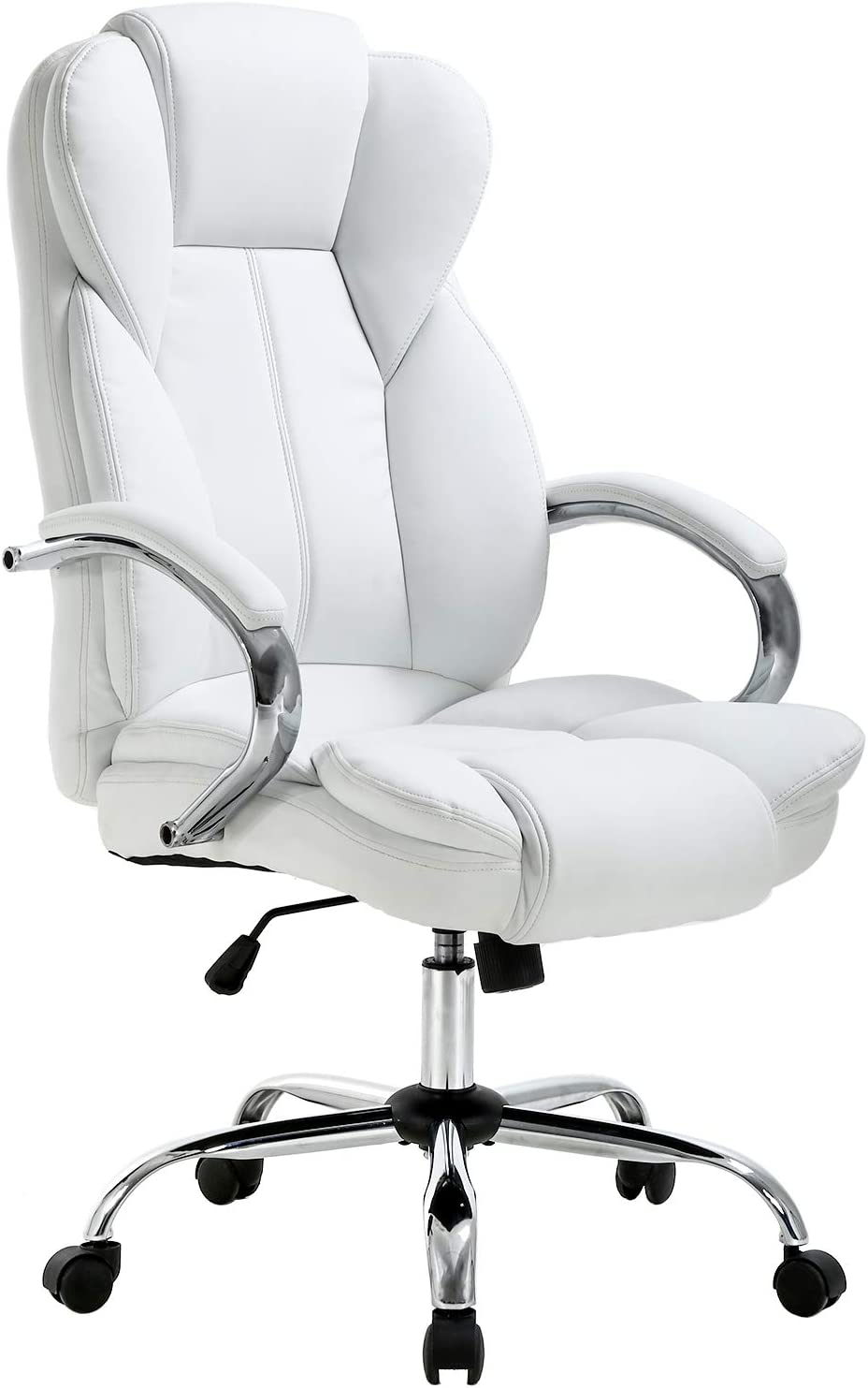 Ergonomic Office Chair Desk, White Leather Computer Chairs