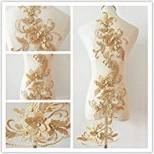 beaded flower sequence lace applique motif sewing bridal wedding 3in1 A5 3D Dusty Pink