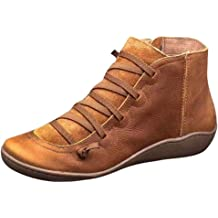 Quealent Ankle Boots for Women,Women Arch Support Boots with Side Zipper Ankle Boots Damping Shoes Platform Wedge Booties