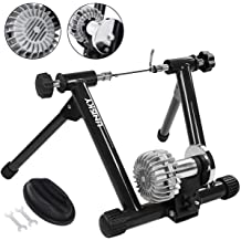 Cycling Sports Indoor Stationary Exercise Turbo Training Riding Adjustable Magnetic Resistance Stand Front Wheel Stand Pad Included Compatible for 26-28 Inch Wheel Size Flexzion Bike Trainer