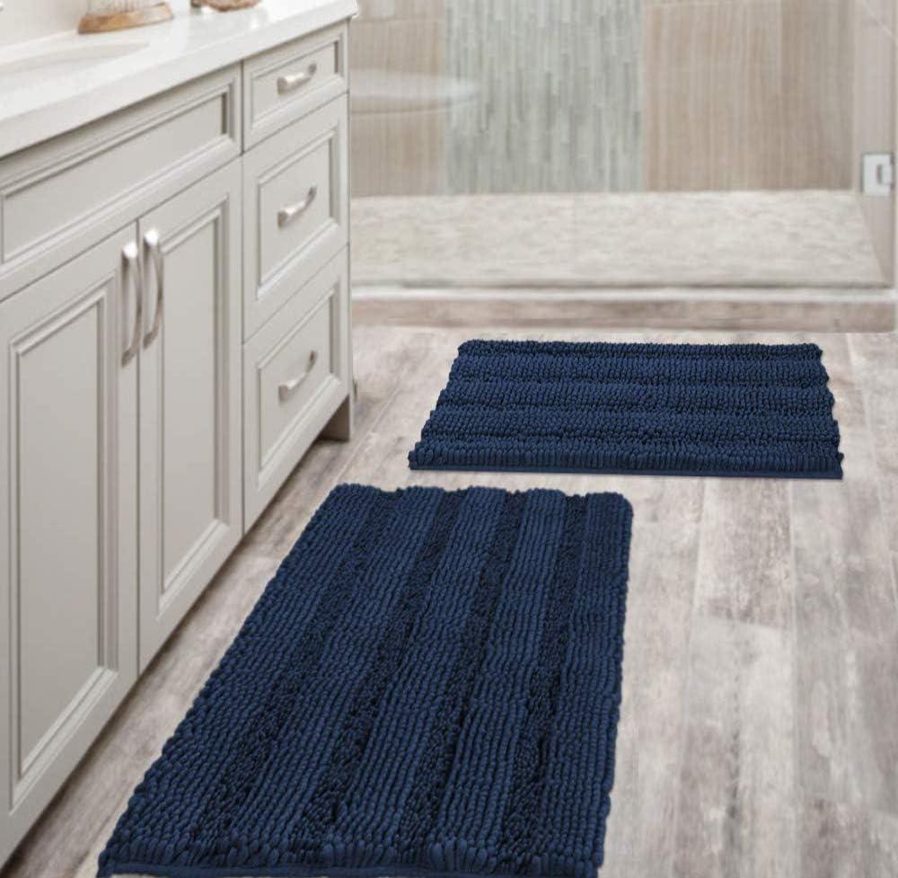 Navy Blue Bathroom Rugs Slip, Bathroom Floor Rugs