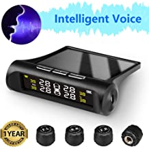 Victor TPMS Tire Pressure Monitoring System Solar Power Smart Wireless Universal Real-time Monitoring Automatic Alarm System Pearl Shell LCD Display with 4 External Sensors 0bar-9bar//0Psi-131Psi