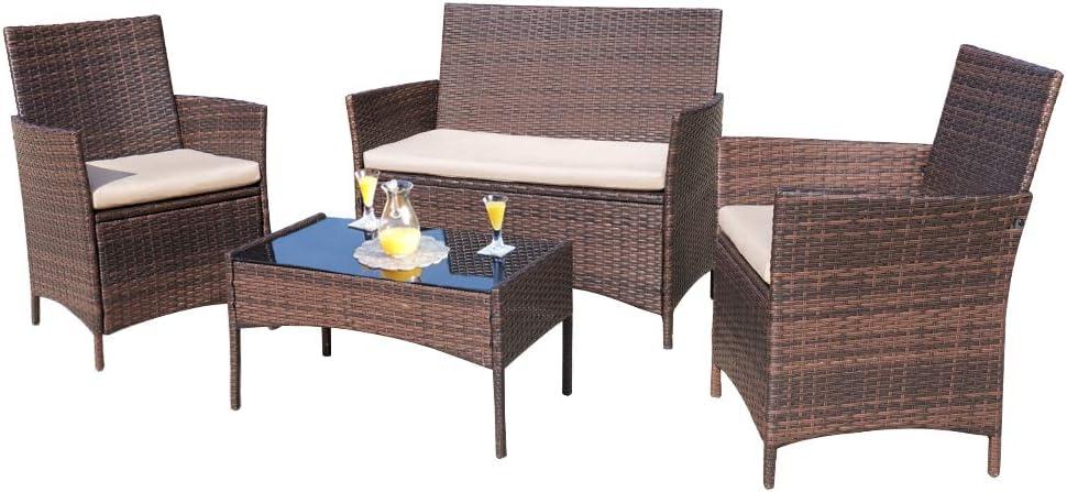 Homall 4 Pieces Outdoor Patio, Outdoor Patio Furniture Set