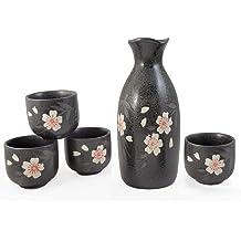 Perfect 5 pc Ceramic Sake set Turquoise Black Happy Sales HSSS-TURQ32