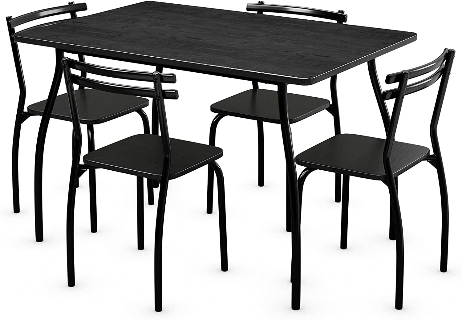 5 Piece Kitchen Dining Room Table Set, Small Black Dining Table And 4 Chairs