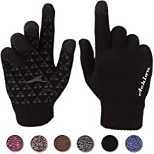 Leather Cuffs Magnetic Closure Small Anti-Slip Grip All-Hand//Finger Texting Double Layered Insulation Mujjo Knitted Touchscreen Winter Gloves