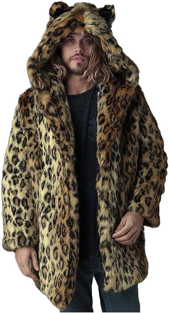 Omina Mens Faux Fur Coat Jackets, Fur Coats Mens Faux