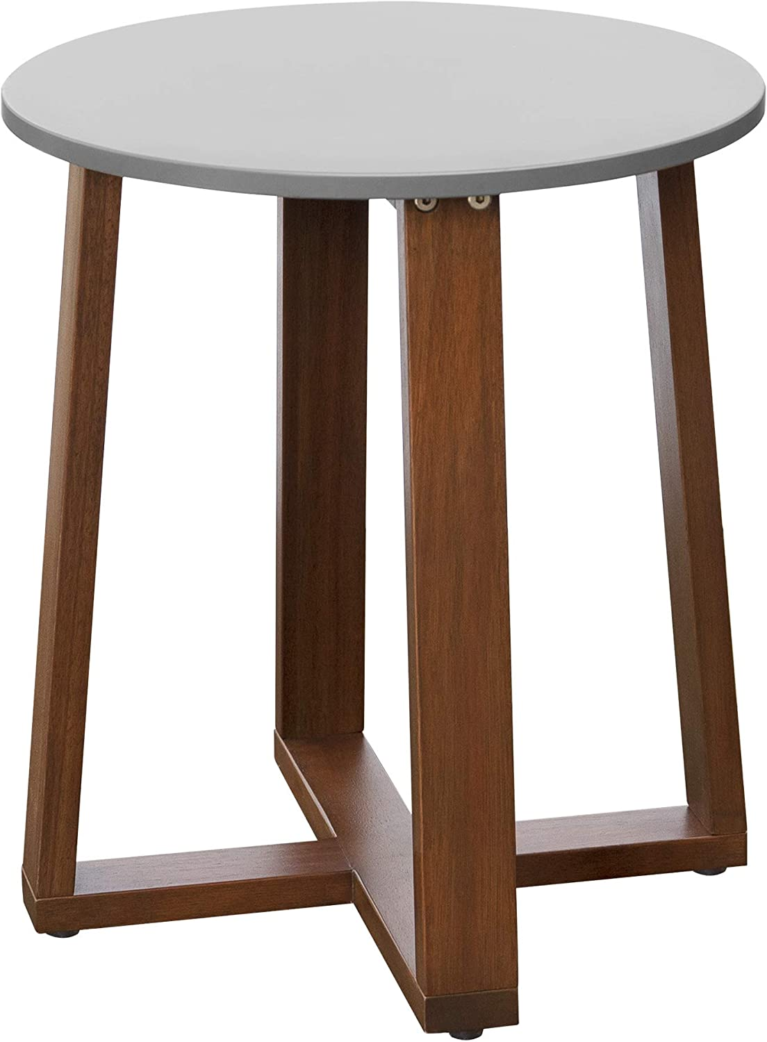 Peaktop Pt Of0014 Eucalyptus Solid Wood Patio Side Table Round Modern For Small Space Outdoor Garden Backyard Gray In Taiwan B08vblt3 - Small Round Wooden Garden Coffee Table