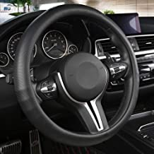 Boho Steering Wheel Cover,Maya Universal Steering Wheel Cover 15inch,Coarse Flax Cloth,Anti-Slip Sweat-Absorbent,Fit for Suvs,Sedans,Cars,Trucks Black and White