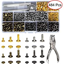AuSL Leather Rivets Tubular Metal Studs DIY Fastener Buttons with Tools for DIY Leather Sewing Craft Rivets 3 Sizes 180Set