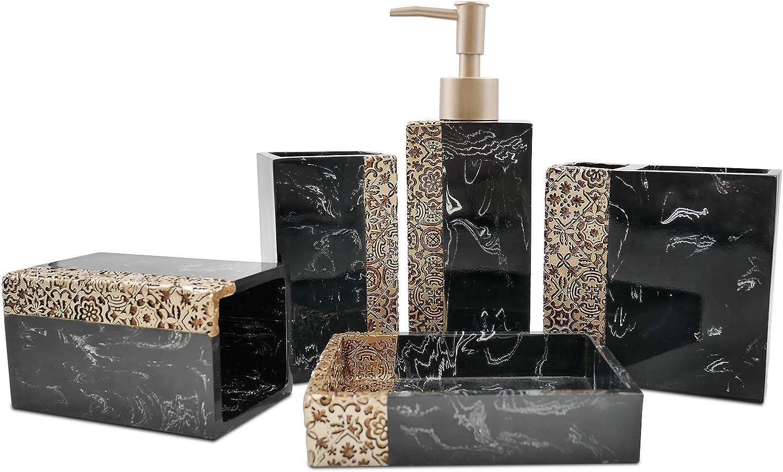 Black Marbled Look, Black Bathroom Accessory Set