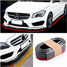 X AUTOHAUX 2.5m 8.2ft Car Rubber Bumper Lip Splitter Body Side Skirt Protector Carbon Fiber Pattern Red