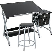 Adjustable Drafting Drawing Table 2 Drawers Tiltable W//Stool Craft Art Desk