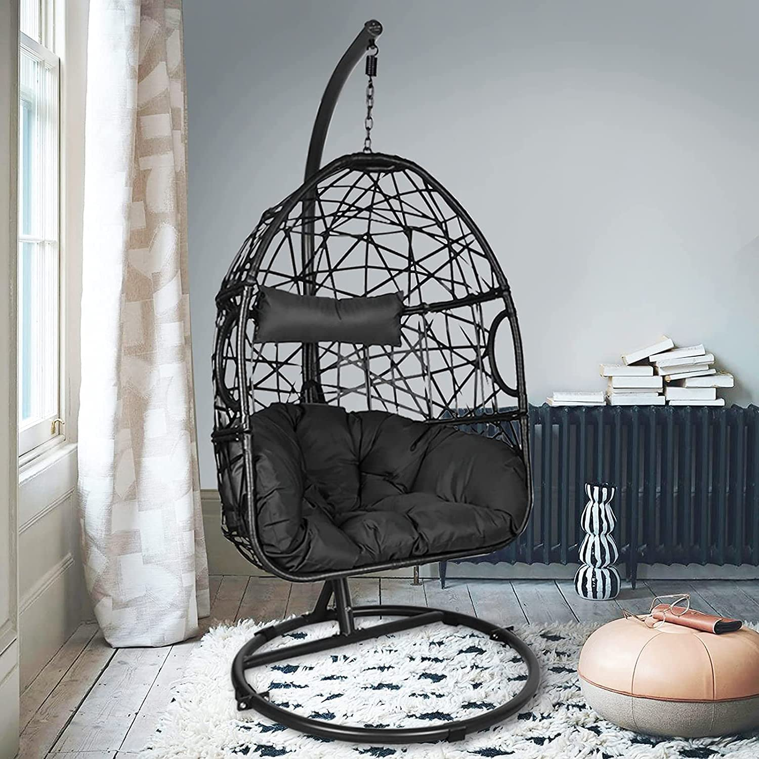 Action Club Egg Chair With Stand, Outdoor Swing Seat With Stand