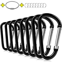 Keychain Carabiner Clip 6 pcs Pack 2.6 x 1.4 Small D-Ring Lightweight Set Link Key Chain Belt Clip Outdoor Backpacking Gate Snap Hook Camping