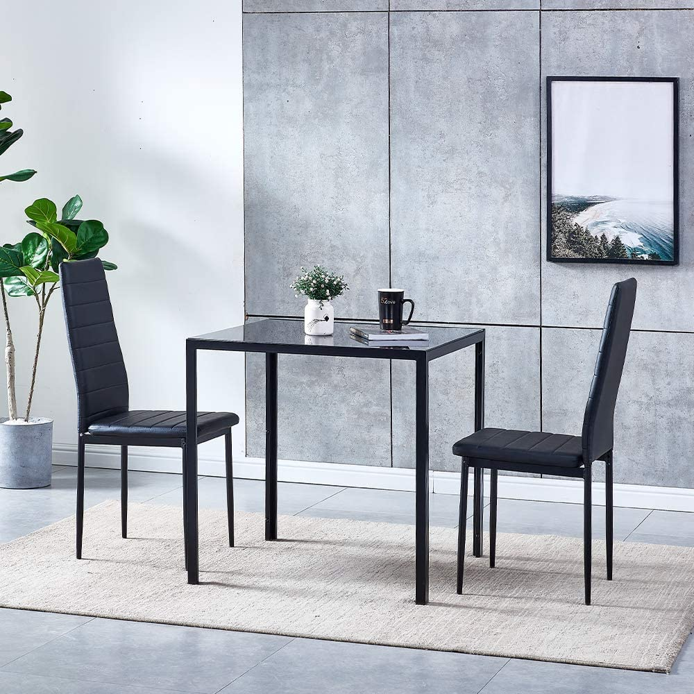 Modern Small Kitchen Square Table, Small Black Glass Dining Table And Chairs