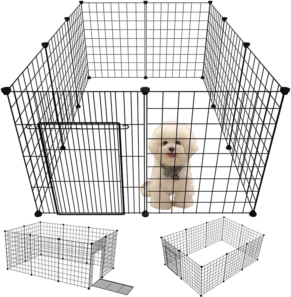 EMYSSA Pet Puppy Playpen with Gate, Small Animal Dog Playpen Kennel Indoor  Outdoor Foldable 20''x20''/20.20''X20.20'' Exercise Play Yard for Small Sized  ...