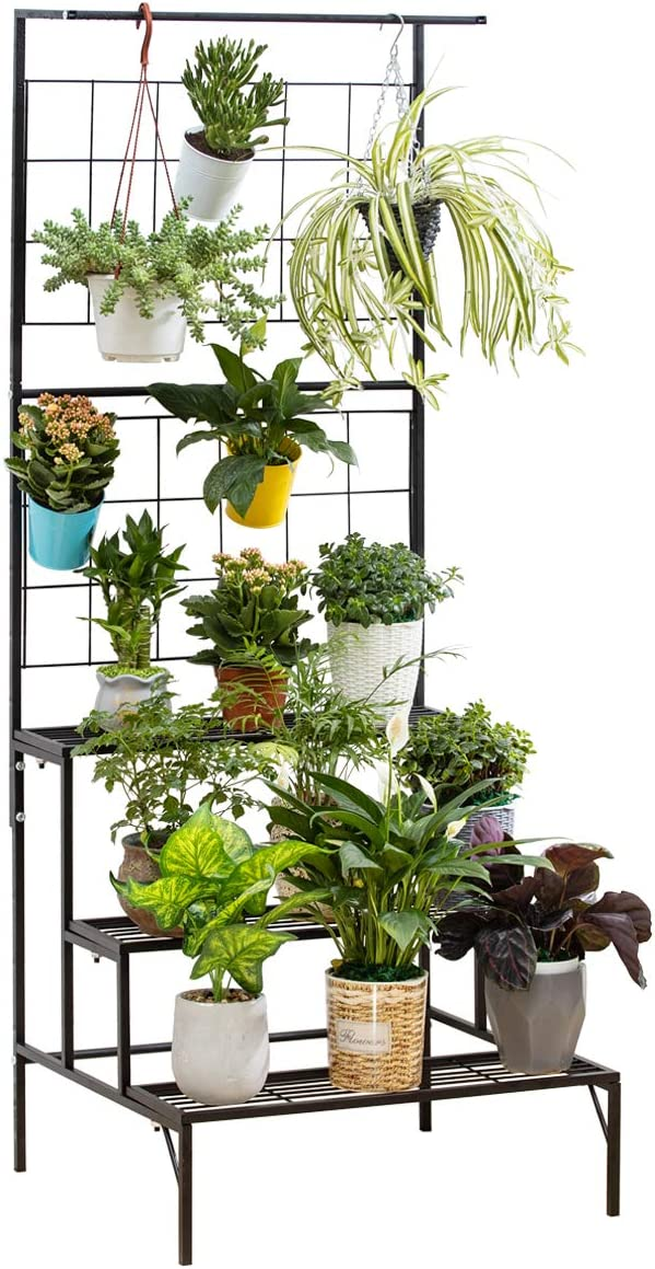 Metal 3 Tier Hanging Plant Stand, Outdoor Plant Shelves