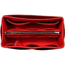 Purse Insert Felt Tote Bag Organizer Fits Graceful MM, Red 3mm Felt, Detachable Pouch w//Metal Zip