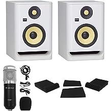 2 KRK ROKIT RP7 G4 7 Bi-Amped Studio Monitor DSP Speakers White Noise Edition