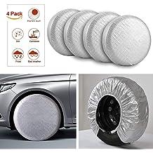 4 Pack Silver Moonet Tire Covers for RV Wheel Oxford Waterproof UV Sun Protectors for Motorhome Boat Trailer Camper Van SUV,D66cm x H28cm for Diameter 24-26