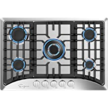 Silver Empava 36XGC881 36 Inch Stainless Steel Gas Professional 5 Italy Sabaf Burners Stove Top Certified with Thermocouple Protection Cooktops