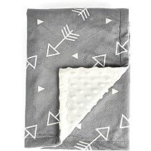 "White American Baby Company Sherpa Baby Receiving Blanket Satin Trim 30 x 35/"""
