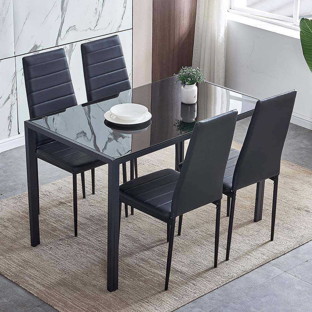 5 Piece Modern Black Dining Table, Small Black Dining Table And Chairs