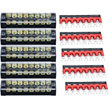 400V 25A 6 Positions Pre-Insulated Terminal Barrier Strip TOUHIA Dual Row 600V 25A 6 Position Screw Terminal Wire Barrier Electric Wire Strip Block 5 Set