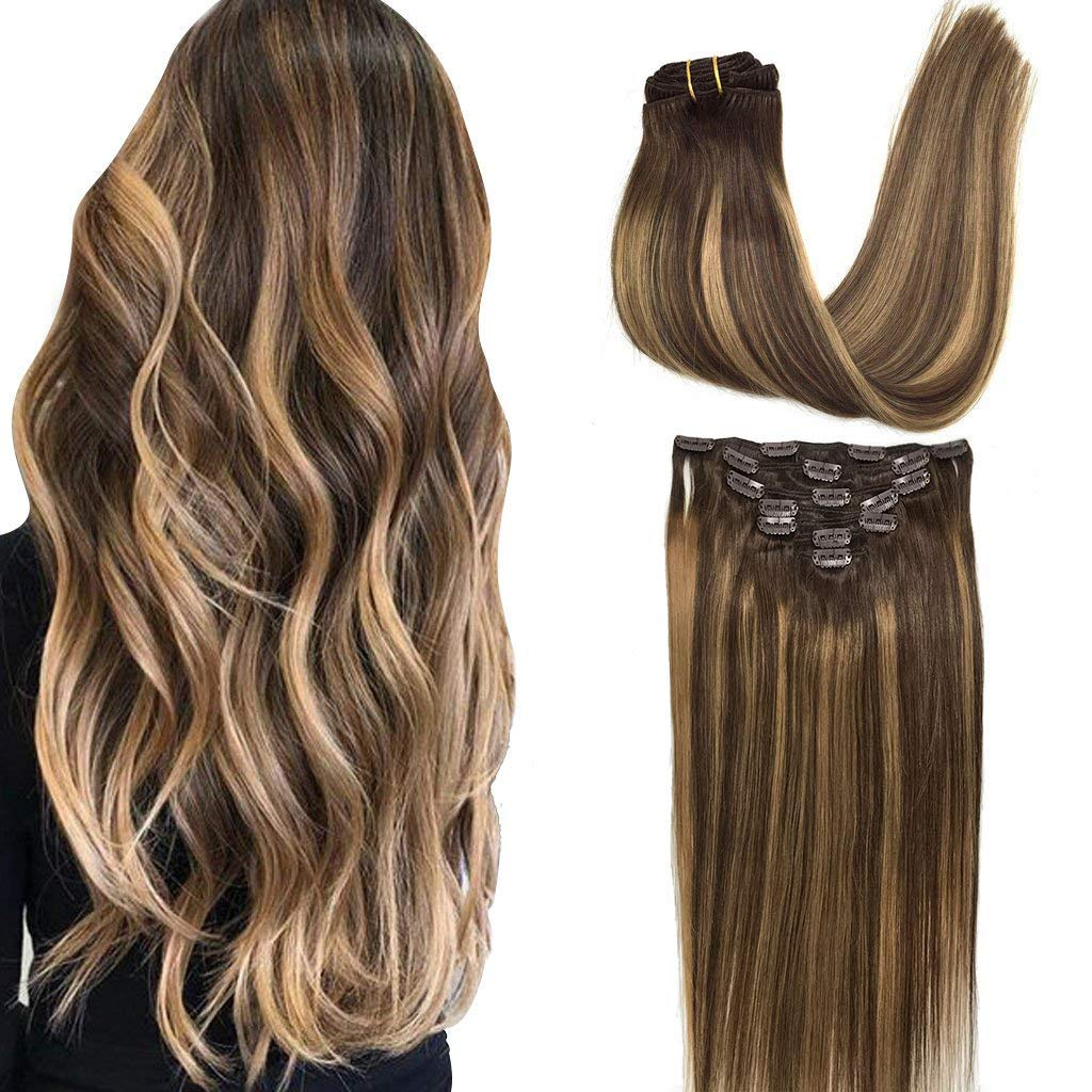 GOO GOO Human Hair Extensions Clip in Balayage Chocolate Brown to Caramel  Blonde 18 inch 18pcs 18g Straight Remy Clip in Hair Extensions Real Natural  ...