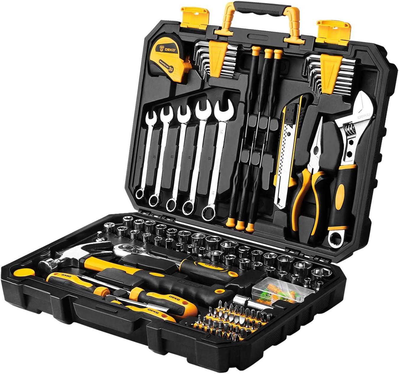 DEKOPRO 20 Piece Tool Set General Household Hand Tool Kit,Auto Repair Tool  Set, with Plastic Toolbox Storage Case