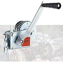 Heavy Duty Gear Winch for RV Trailer ALAVENTE Manual Winch 600lbs White Zinc Gear Reel w// 23ft Black Webbing Boat or ATV