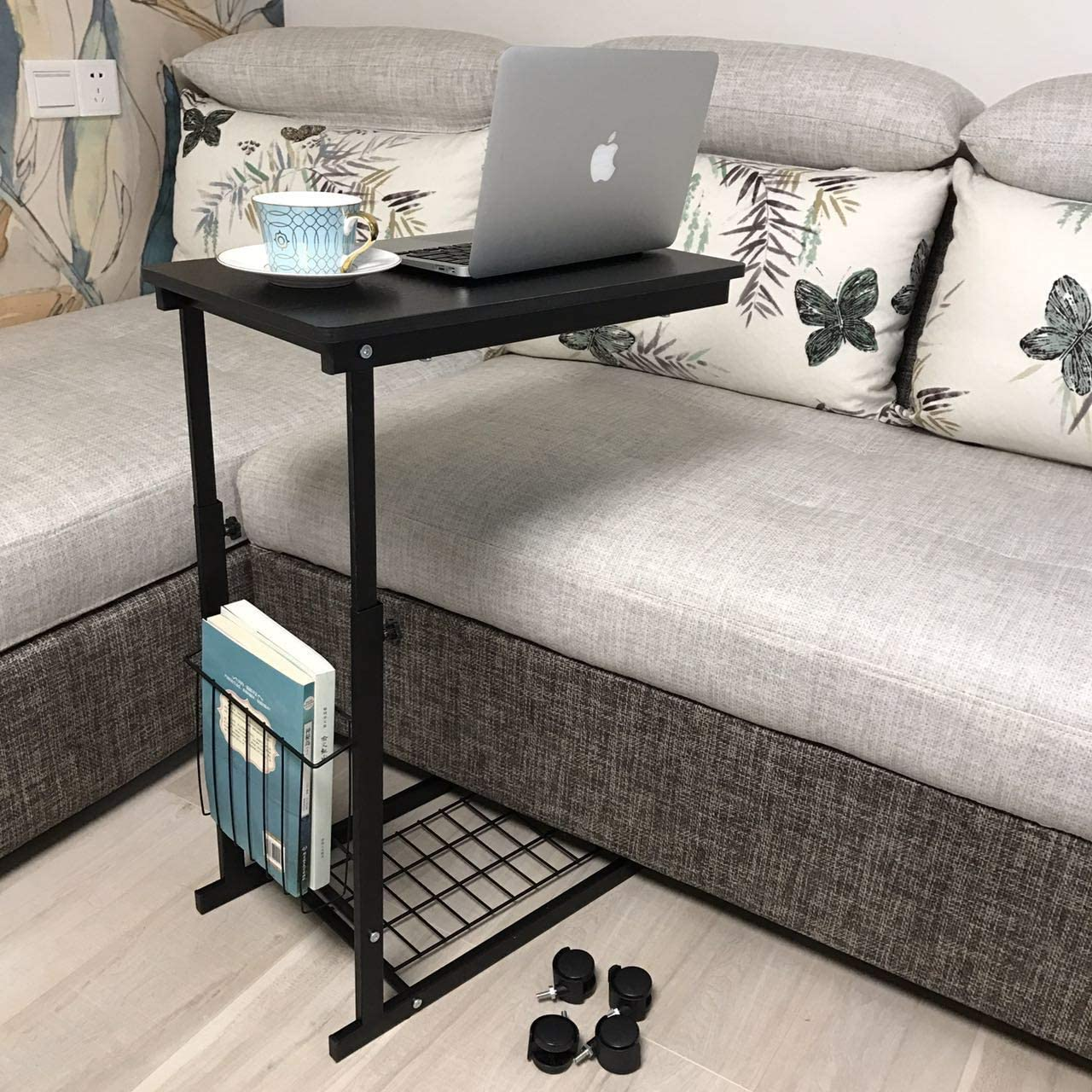 Micoe Sofa Side Table With Wheels Couch That Slide Under Storage Shelves C Style End Tables Height Adjustable Overbed Black In Taiwan B071z9d16p - Side Table With Storage Shelves