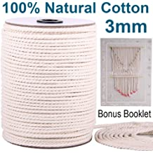 Macrame Cord 4mm 250 Yards with Book Small or Large Decorative Projects Soft Cotton Rope for Wall Art Macrame Book Teaches Knots and Pattern Crafts Boho Decor Plant Hangers Natural Dying