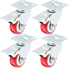 """Lot of 4/"""" Caster All Swivel Plate Red Polyurethane Wheels with Brake 2"""