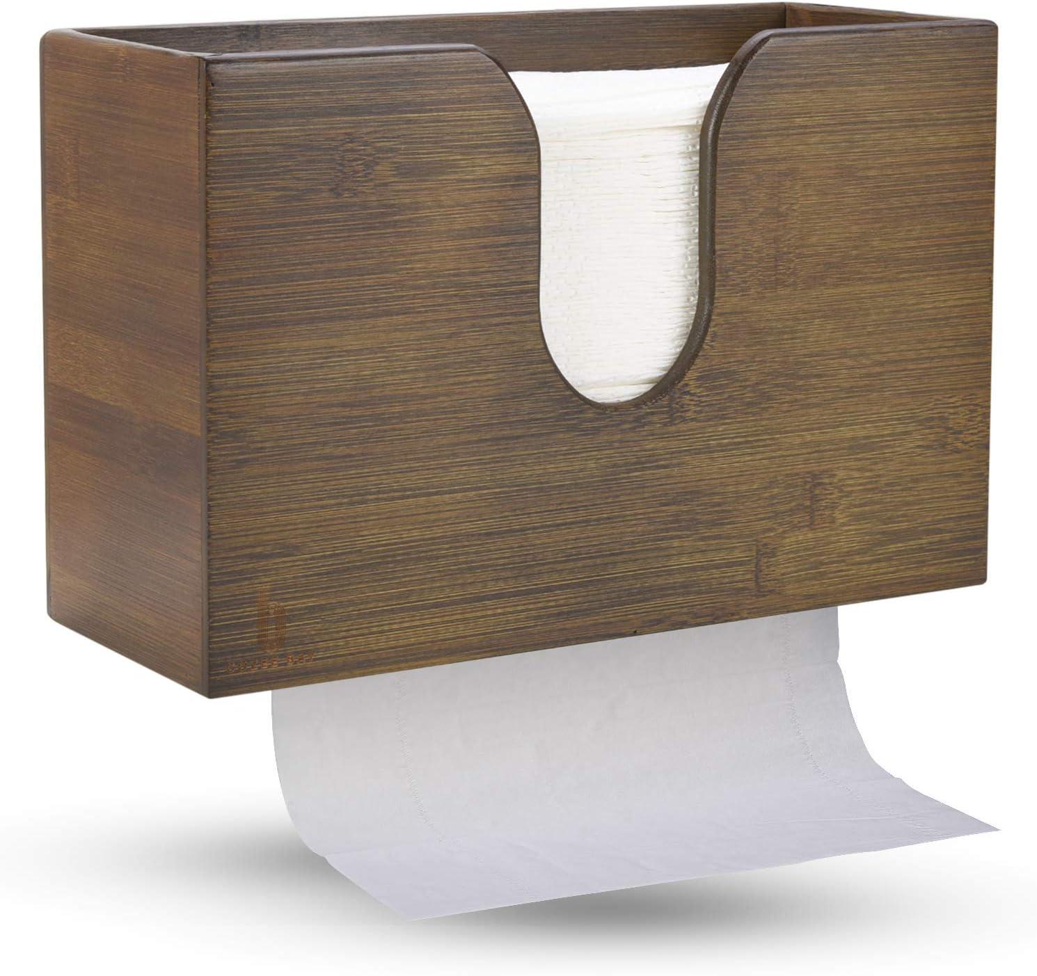 Bamboo Paper Towel Dispenser, Paper Hand Towel Holder For Bathroom