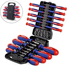 26 Screwdriver Set Magnetic Tip Non-Slip w//Standing Rack PRIORITY SHIP