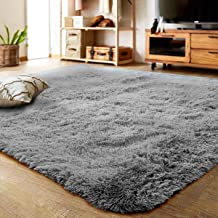 White ACTCUT Super Soft Indoor Modern Shag Area Silky Smooth Rugs Fluffy Rugs Anti-Skid Shaggy Area Rug Dining Room Home Bedroom Carpet Floor Mat 2.6 Feet Feet By 5.3
