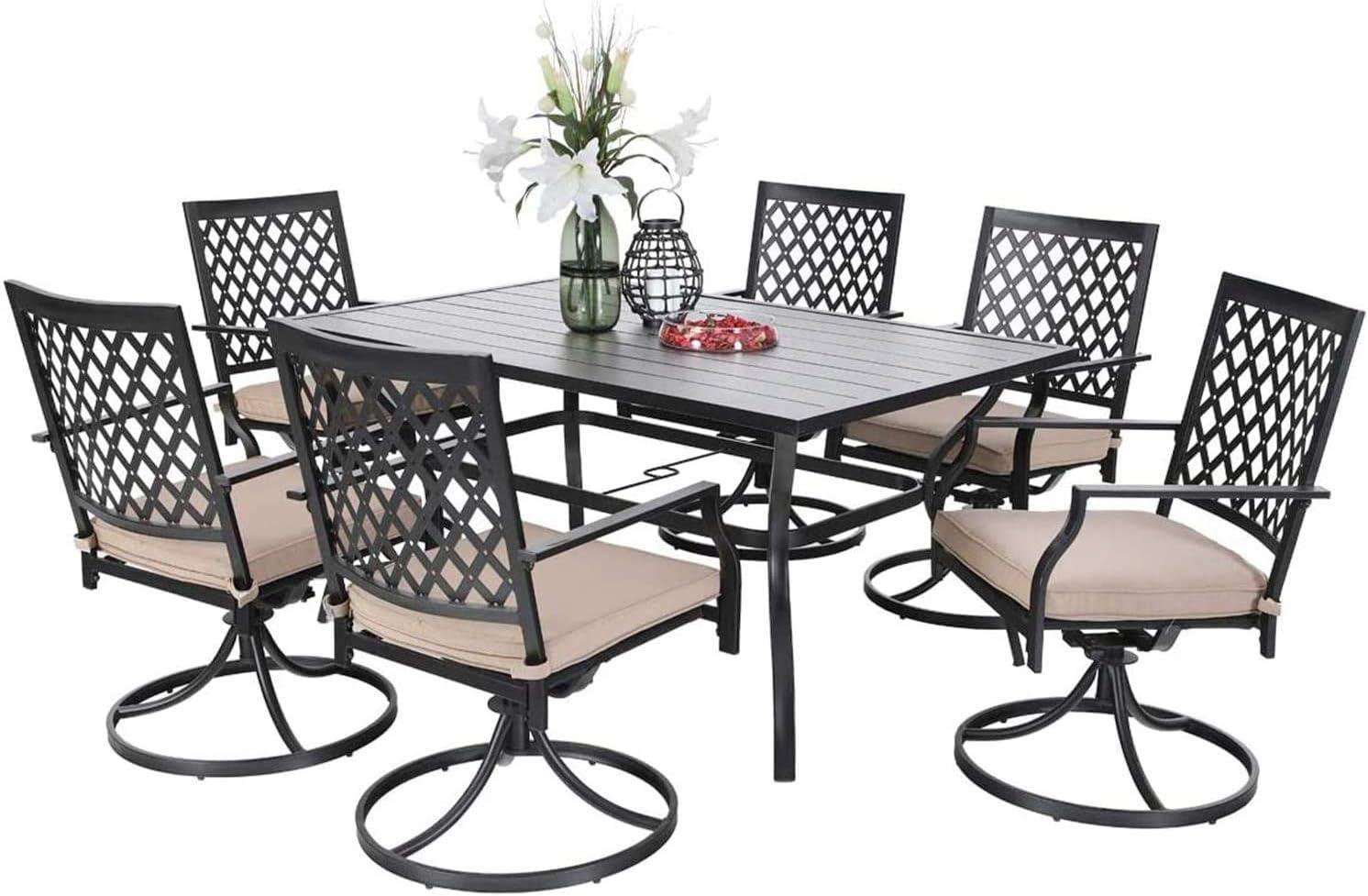 Buy PHI VILLA Outdoor Patio Dining Set of 10 Metal Furniture Set, 10 ...