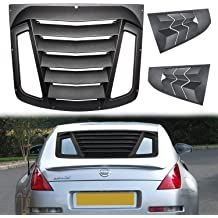E-cowlboy Side Window Louver Windshield Sun Shade Cover for Nissan 350Z 2003~2008 Custom Fit ABS Matte Black