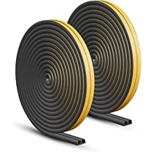 MIKOSI 26 Feet Silicone Seal Strip,Door Weather Stripping Door Seal Strip Window Seal Silicone Sealing Tape for Door Draft Stopper Adhesive Tape for Doors Windows and Shower Glass Gaps Black, 25MM