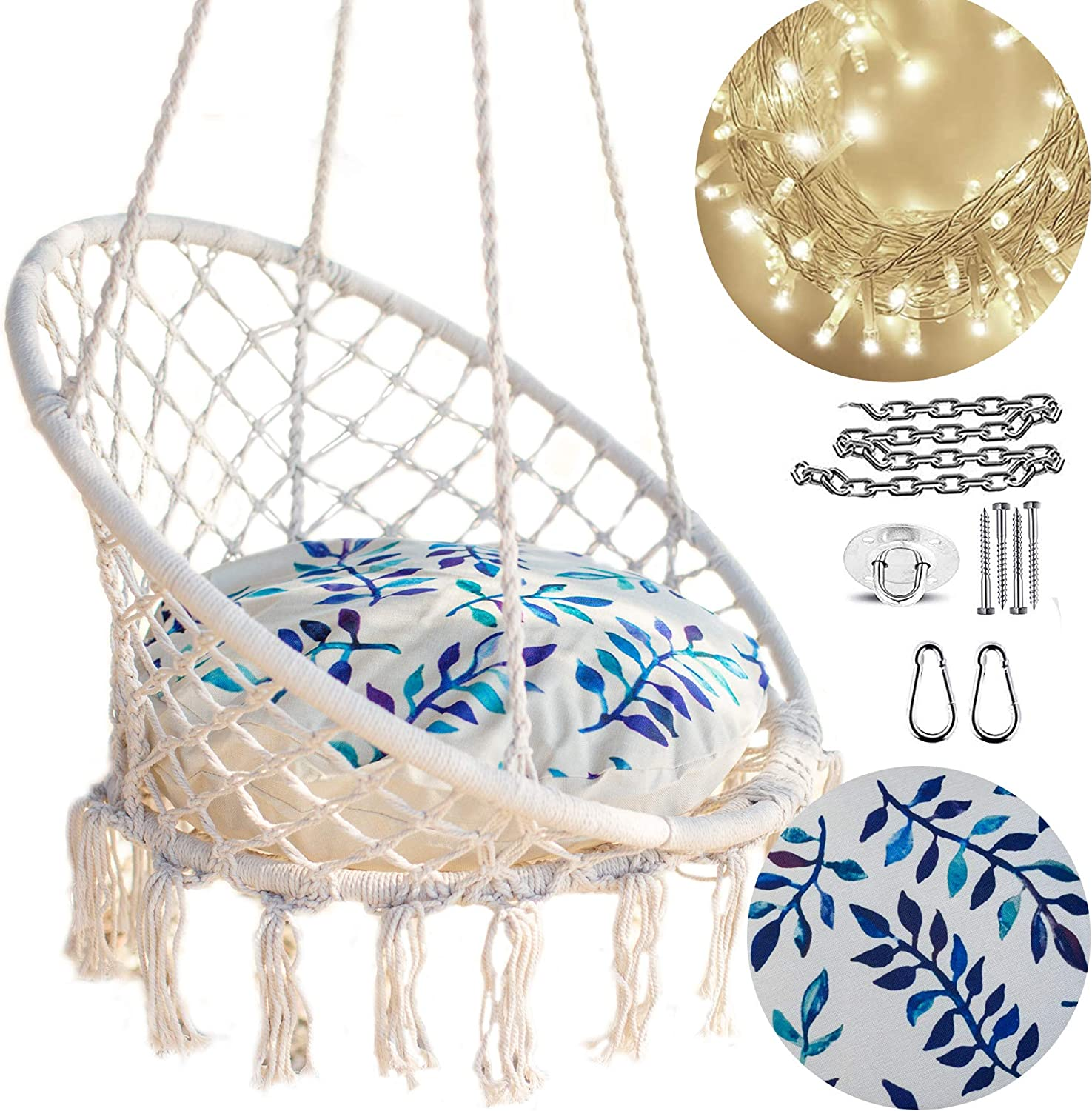 Nooksta Macrame Hanging Chair Swing, Outdoor Swing Chair With Stand Canada