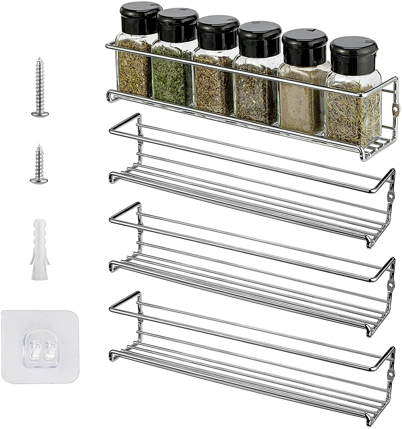 X Chef Spice Rack Wall Mount 4, Spice Rack For Kitchen Cabinet Door