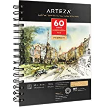 40 Sheets 5.5 x 8.5 Inch Side Wire Bound Double Sided Fine and Medium Texture Heavyweight French Paper 138 Pound Canson Mix Media Art Book