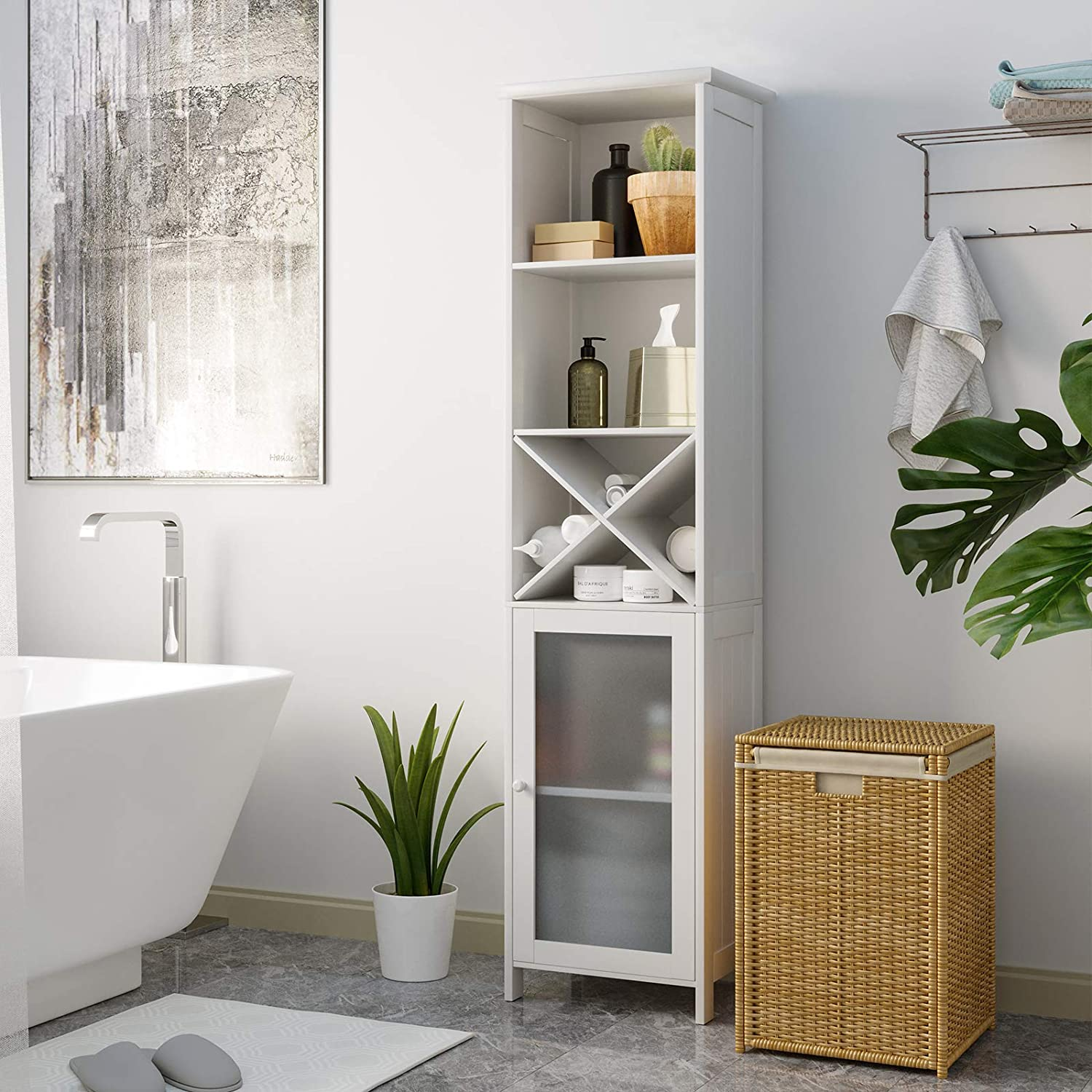 Stand Space Saving Floor Cabinet, Tall Bathroom Shelving Units