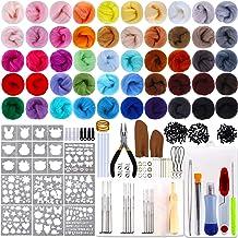 Wool Felt Tools and Foam Mat for Felting Craft Needle Felting Wool Set Included 48 Colors Wool Roving lmzay Needle Felting Kit Needle Felting Supplies