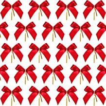 6, 10 x 26 Inches URATOT 6 Pack 26 Inches Red Velvet Bow Christmas Holiday Bows with 12 Loop Christmas Wreaths Decoration 10 x 26 Inches