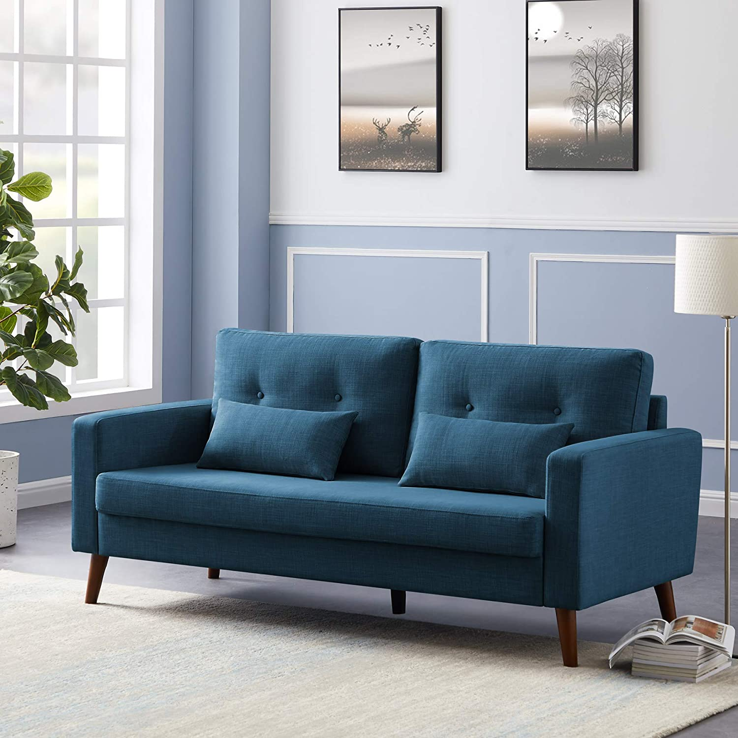 Buy Tribesigns Mid Century 20 Sofa Couch, Modern Linen Fabric 20 ...