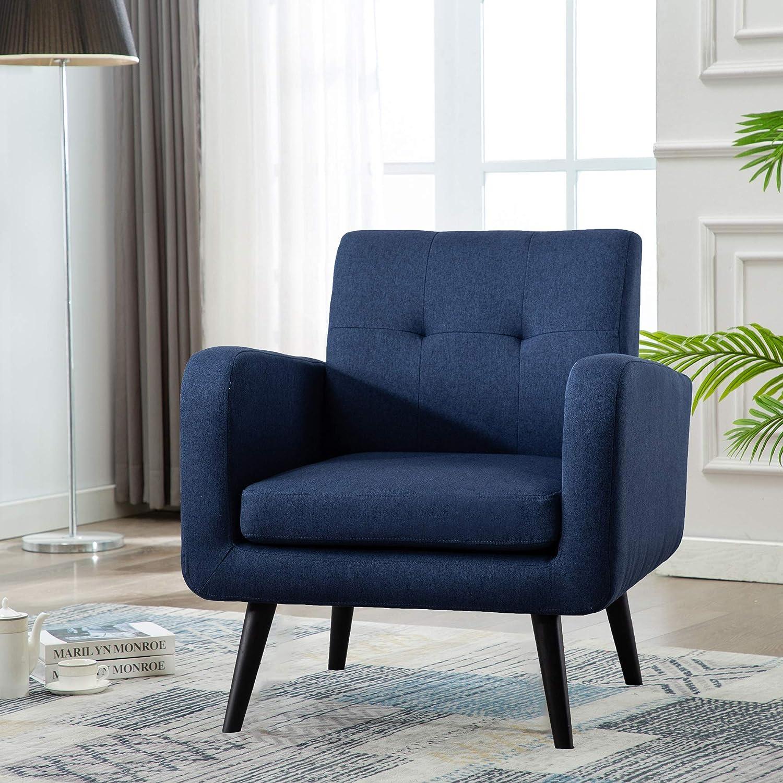 Mid Century Modern Fabric Arm Chairs, Modern Living Room Chairs